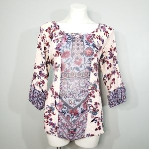 One World Sheer Panel Floral Blouse